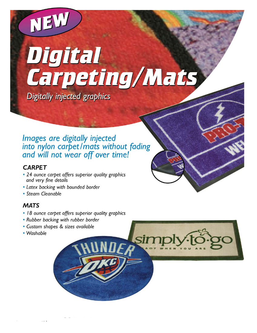 Digitally Printed Carpet |  30oz Nylon Carpet | Sewn Border | Non-skid latex backing | custom shaps and sizes available now