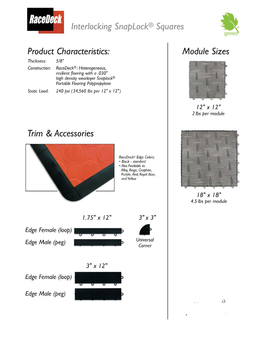 RaceDeck on SnapLock Portable Trade Show Flooring: CircleTrac and Diamond patterns available in 10 colors