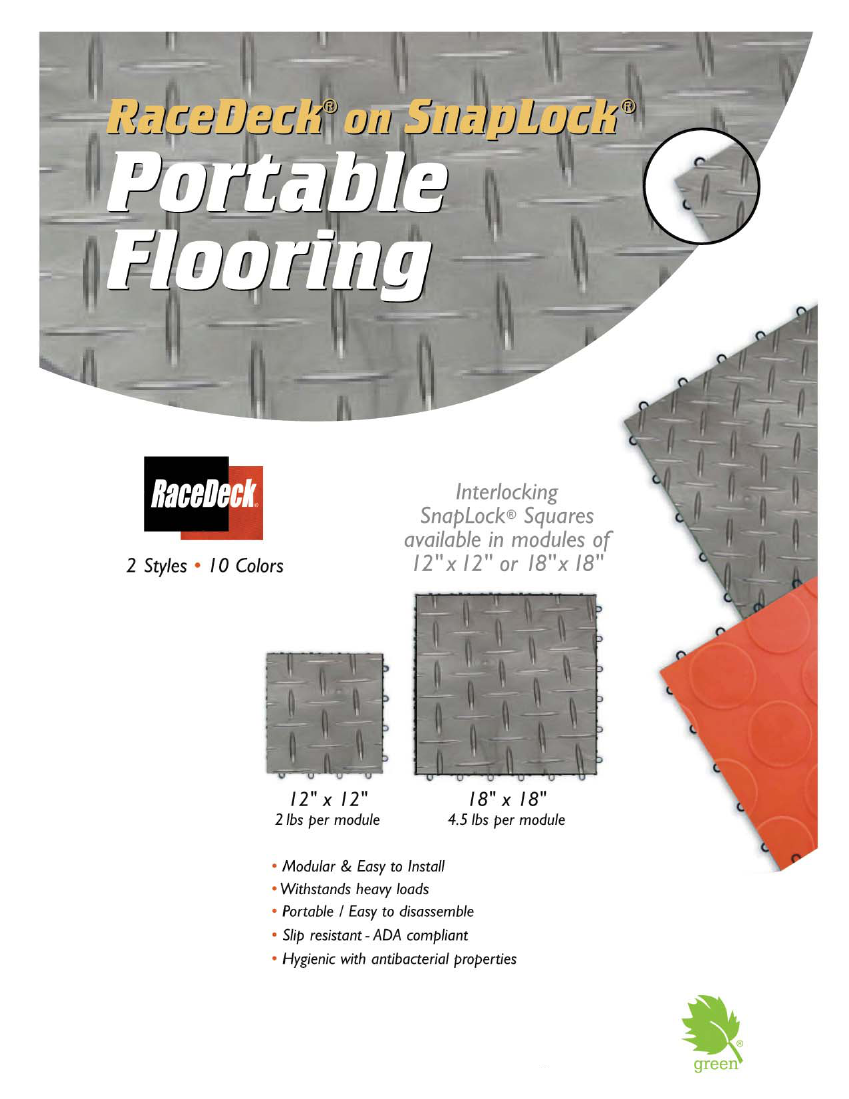 "RaceDeck on SnapLock Portable Trade Show Flooring: Interlocking Snaplock squares available in modules of 12"" x 12"" or 18"" x 18"""