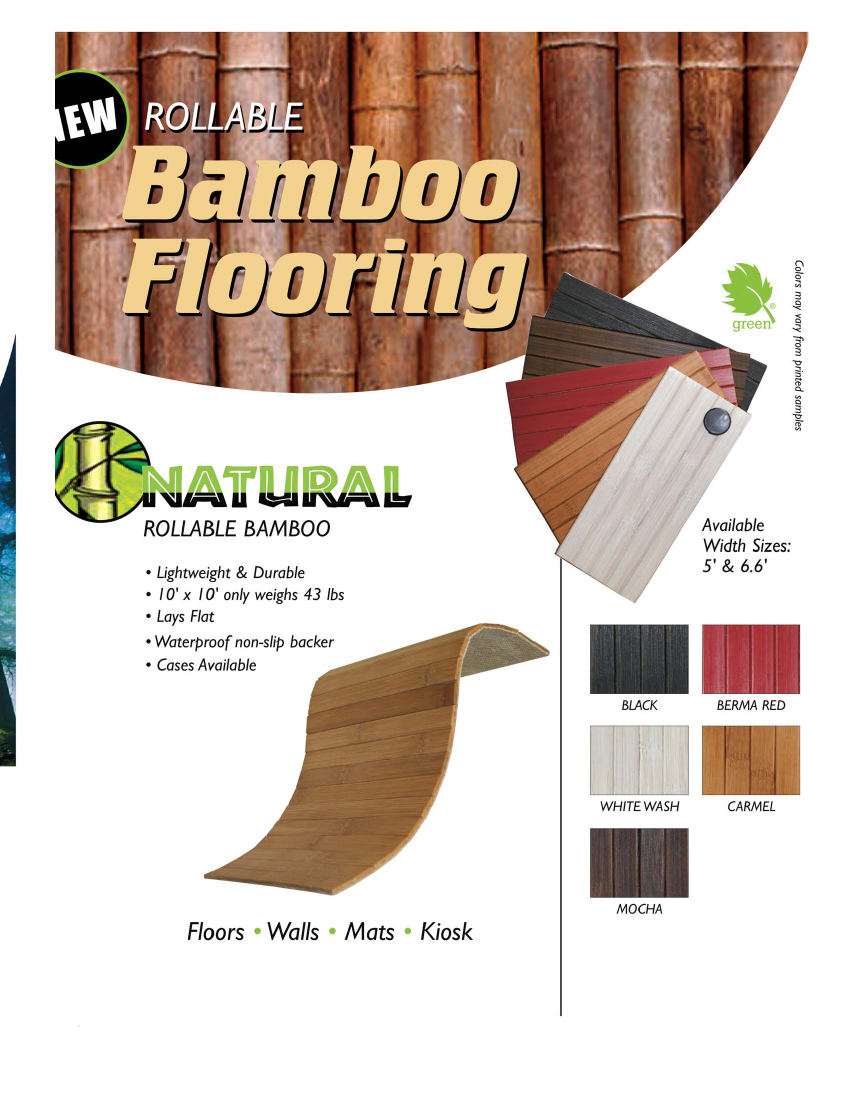 Natural Rollable Bamboo Trade Show Floors, Walls, Mats or Kiosks: Available in 8 Great Colors, Lightweight & Durable, Lays Flat, Waterproof non-slip backer