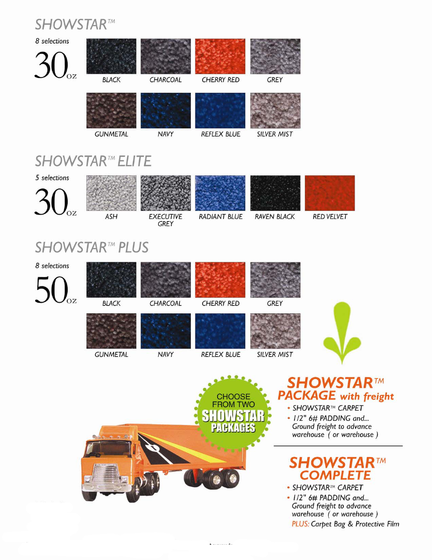 Show Star Carpet Options