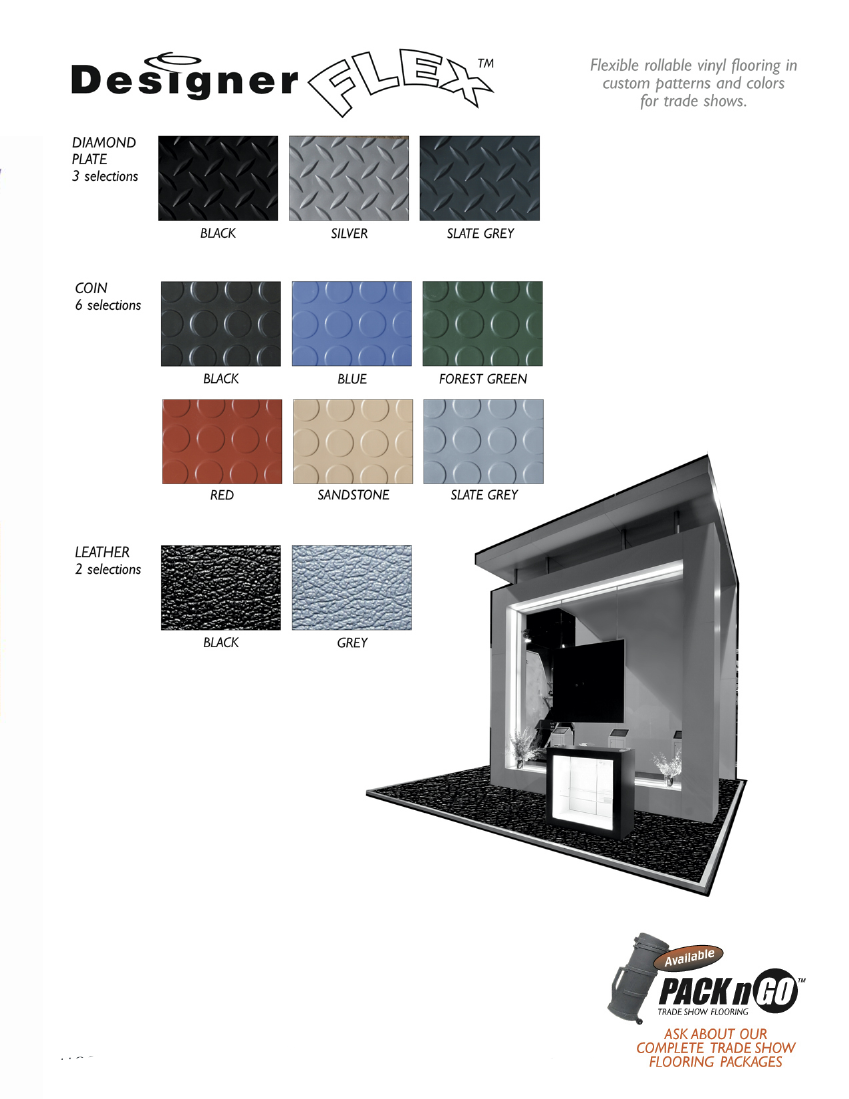 Designer Flex, Vinyl Flooring for Trade Shows | Available Styles Include Diamond Plate | Coin | Leather | Hi-Gloss | Matte