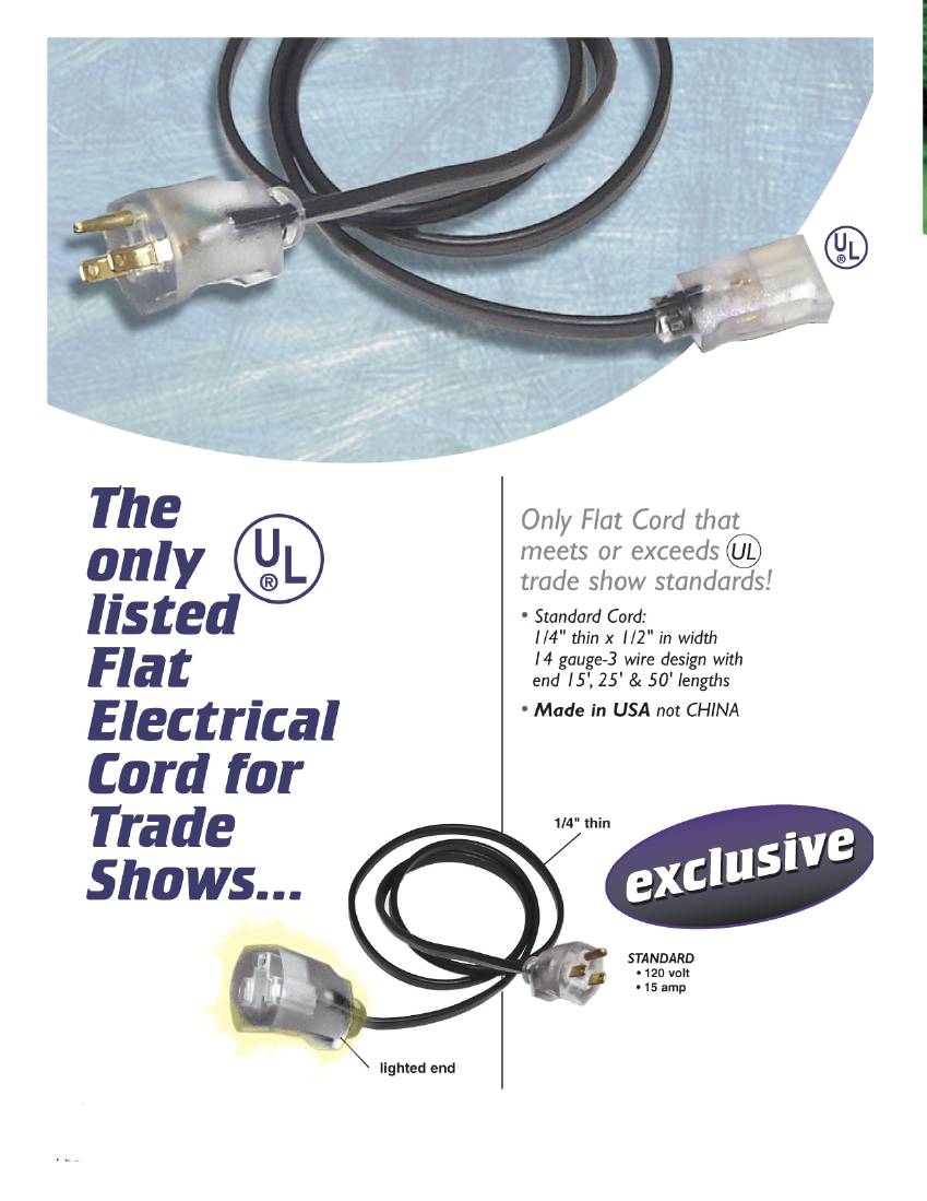 Flat Electrical Cord For Trade Shows