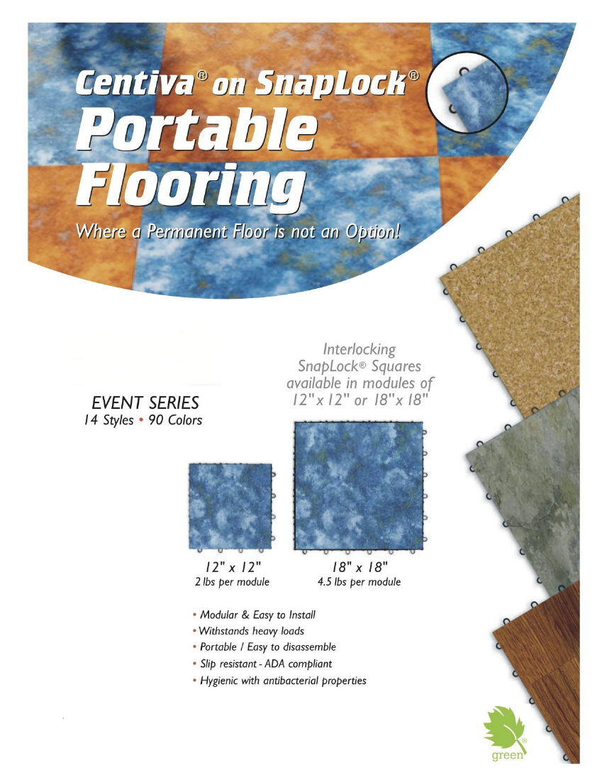 "Centiva on Snaplock Portable Trade Show Flooring: Interlocking Snaplock squares available in modules of 12"" x 12"" or 18"" x 18"""