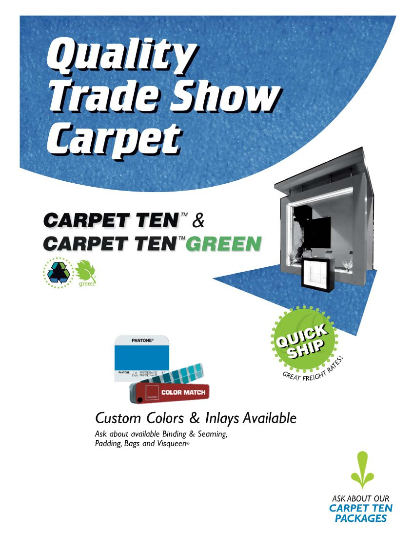 Carpet Ten Trade Show Carpet: Custom Sizes, Colors and Inlays